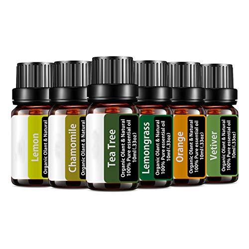 Essential Oils Set,Lemongrass,Vetiver,Orange, Chamomile, Lemon, Tea Tree Oil Sets,Pure Organic Essential Therapeutic Grade Aromatherapy Oils Gift Kit, Topical Use - Breathe Easy,Relaxation,Immunity