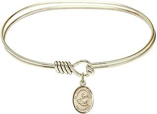 Christopher Lacrosse Charm On A 6 1//4 Inch Round Eye Hook Bangle Bracelet St