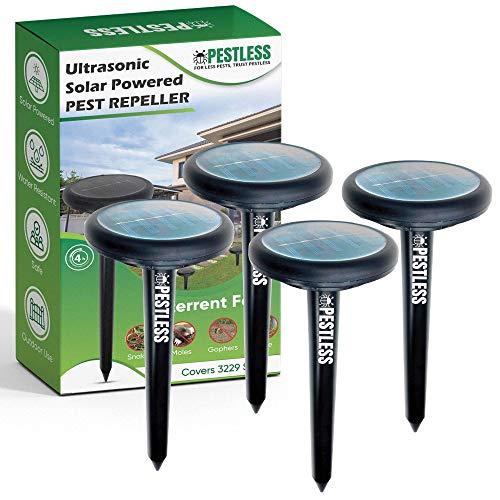Pestless Upgraded Ultrasonic Pest Repeller - Deterrent for Moles, Gophers, Snakes, Mice - Safe, Humane, Solar Powered Outdoor Rodent Repellent for Garden, Lawn, Yard (4)