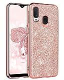 BENTOBEN Funda Samsung A20e, Carcasa Samsung A20e Cover Case Ultra Delgada Brillante Purpurina Resistente Silicona Suave PC Dura Protectora Completa Fundas para Samsung Galaxy A20e -Oro Rosa