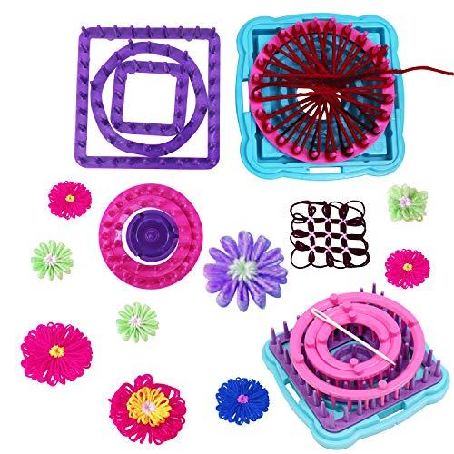 Rundstrickmaschinen Set (6st) - Gehäkelter Blumen Corsage Rahmen - 3 Runde, 2 Quadratische & 1 Sechseckige Webmaschine mit 1 Basis, 1 Mittelachse & 1 Wollnadel - Anfänger & Professionelle Strick