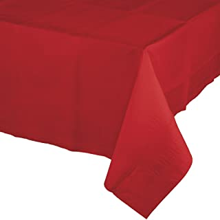 Creative Converting 6 Count Touch of Color Paper Table Covers with Poly Backing, Classic Red
