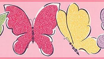 Orange Purple Red Green Yellow Butterflies Pink Wallpaper Border for Kids Bedroom Bathroom Playroom Roll 15  x 6