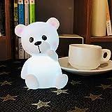 Dilwe - Lampada notturna a LED, motivo: orso di animale, di cartone animato, raffinato per i bambini, per le occasioni del Festival compleanno di Natale (White Light)