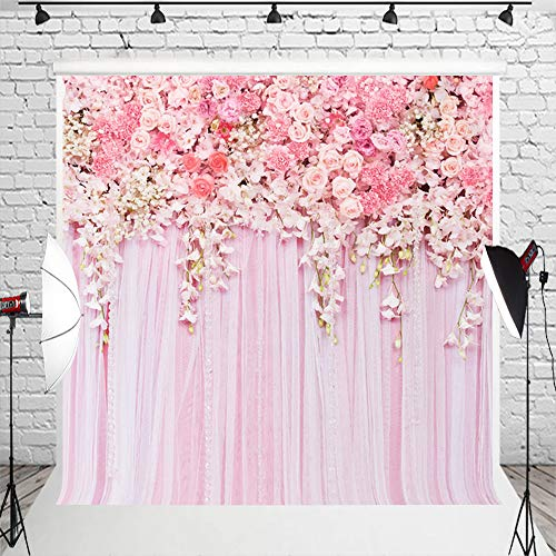 Muzi 8x8ft Rose Flowers Wall Photo Backdrop Pink Lace Curtain Background Wallpaper Home Decor for Baby Birthday Party D-9354