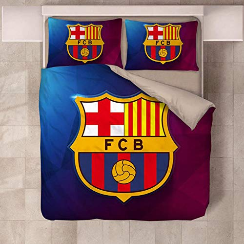 KJGLXD Bedding Set Duvet Cover Comforter Cover 3D Soccer Bedding Set (Including 1 Duvet Cover, 1 Bed Sheet And 2 Pillowcases) Duvet Cover Three-Piece Sports Suit,H,King