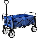 TecTake Chariot de transport à main offroad Remorque de jardin pliable | 95 x 53,5 x 117 (LxBxH) | -diverses couleurs au choix- (Bleu | no. 402595)