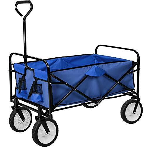 TecTake Faltbarer Bollerwagen mit Netztaschen | 95 x 53,5 x 117 (LxBxH) | -Diverse Farben- (Blau | Nr. 402595)