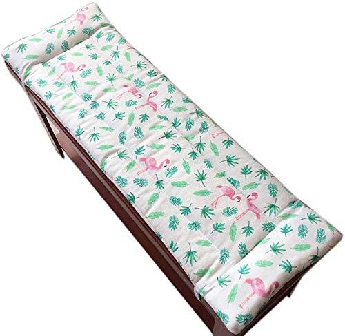 Topstylehouse, cuscino lungo per panca con lacci di fissaggio, tappetino per sedia a dondolo, tappetino da viaggio per interni ed esterni, 2 cm di spessore lavabile (fenicotteri, 150 x 40 cm)