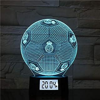 Luces Nocturnas 3D Real Madrid Football Lámpara Led 3D Nueva Linda Mesa De Dormitorio Luz Nocturna Panel De Acrílico Cable USB 7 Colores Cambiar La Lámpara De Base Táctil Regalo para Niños