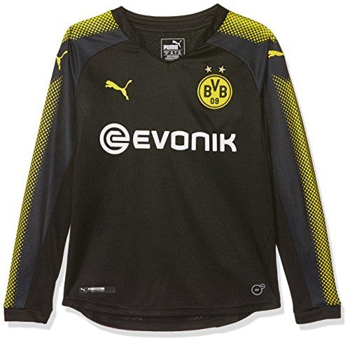 PUMA Jungen BVB Kids LS Away Replica Shirt with Sponsor Logo T Black-Cyber Yellow, 164