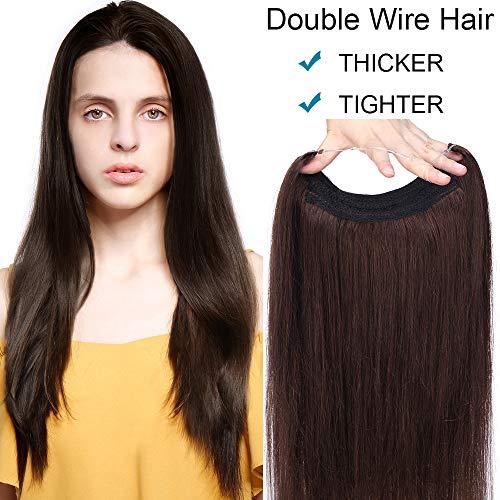 SEGO Extension Capelli Veri Fascia Unica Filo Invisibile Double Wire Trasparente Castano 100% Remy Human Hair Lisci Naturali Senza Clip Lunghi 40cm, 90g - #2 Marrone Scuro