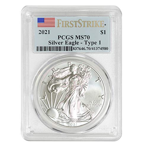 2021 1 oz American Silver Eagle Coin MS70 (Heraldic Eagle T-1 - First Strike) by CoinFolio $1 MS-70 PCGS