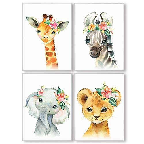 Pandawal Wandbilder Kinderzimmer/Babyzimmer Bilder für Junge & Mädchen Safari Tiere mit Blumen 4er Poster Set Elefant Giraffe Zebra Löwe Tier Deko (P8) im DIN A3 Format