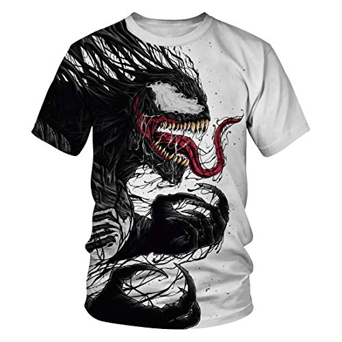 Leezeshaw Unisex 3D T-Shirts Mens Casual Marvel Heroes Venom Printed Short Sleeve T-Shirts Top Tees S-3XL