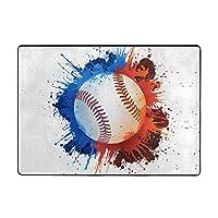 野球印刷カーペット80 * 58インチ、ソフトコージー。 寝室、居間の装飾的な敷物のため