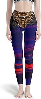 Women's 4 Way Stretch Tummy Control Yoga Legging Hamsa Hand Workout Seamless Leggings Tights for Girl