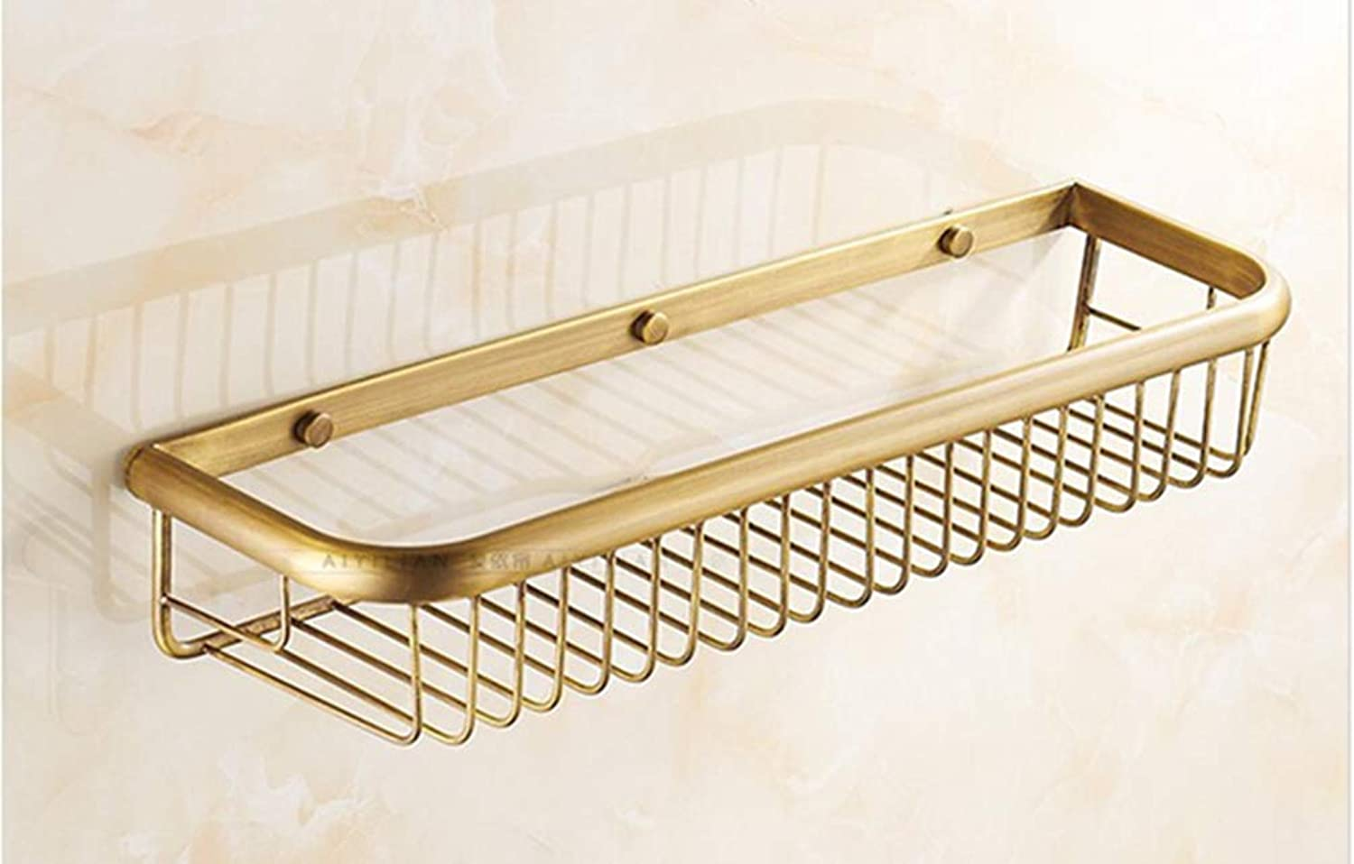LUDSUY Bathroom Accessories Antique Brass 45Cm Bathroom Single-Tier Bathroom Storage Rack Wall Mount Bathroom Shelf