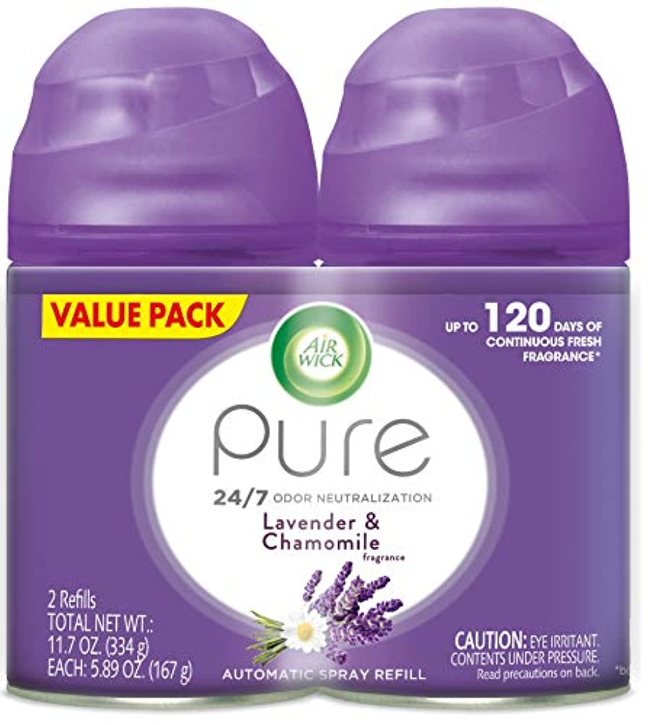 Air Wick Pure Freshmatic 2 Refills Automatic Spray, Lavender & Chamomile, (2x5.89oz), Air Freshener, Essential Oil, Odor Neutralization, Packaging May Vary