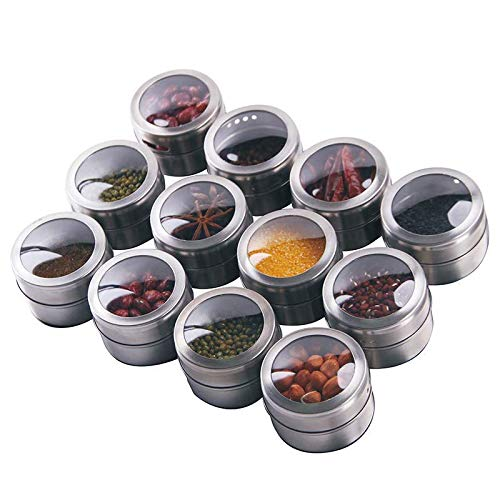 Boealzhl Magnetic Spice Tins Set - Shake or Pour Containers Attach to Most Refrigerator Doors- Easy Open Window Top Shakers 12pcs/Set