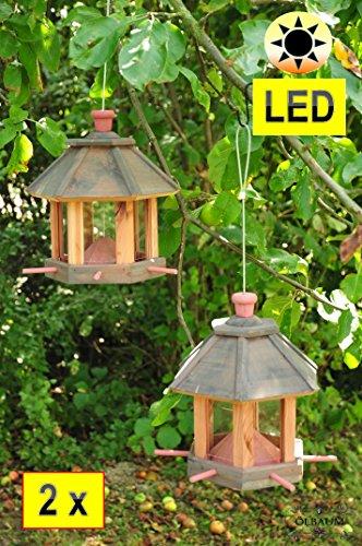 2 x Vogel- & Futterhaus Vögel, mit Silo, sehr robust,winterfest, 2 Stück !!! aus Zedernholz/ Zeder- MIT Beleuchtung,LED-Licht mit Ein-Aus-Schalter SCHWARZ / ANTHRAZIT