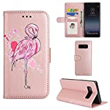 Samsung Galaxy Note8 Case, Ailisi [Pink Flamingo] Leather