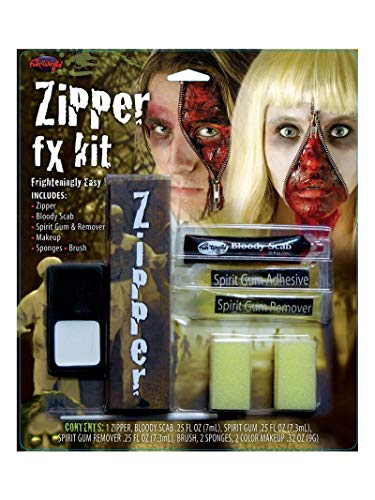 Fun World Unisex-Adult's Zipper Fx Makeup Kit, Multi, Standard