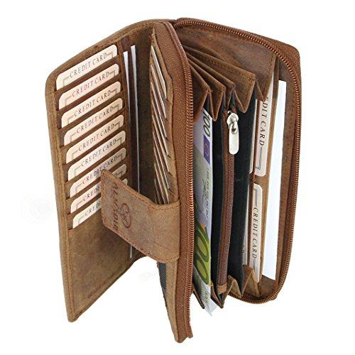ALMADIH Damen Portemonnaie Mila Premium Rindsleder mit RFID - 26 Kartenfächer, 7 Einsteckfächer, 4 Geldscheinfächer, Metall-Reißverschluss Geschenkbox - Leder Langbörse Geldbörse Braun (P27 Vintage)