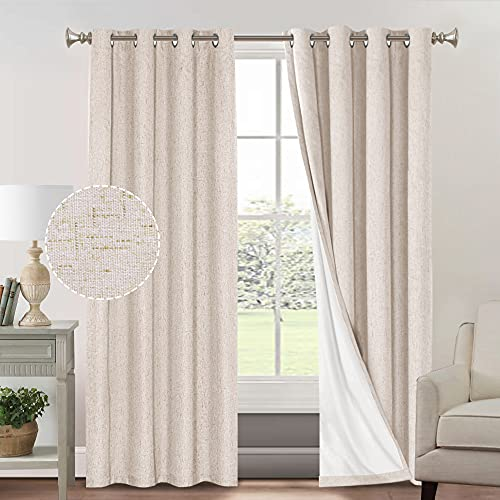 Primitive Textured Linen 100% Blackout Curtains for Bedroom/Living Room Energy Saving Window Treatment Curtain Drapes, Burlap Fabric with White Thermal Insulated Liner (52 x 96 Inch, Natural)