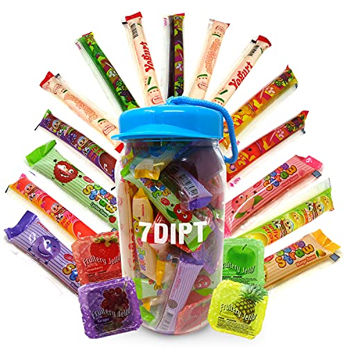 Random Assorted Fruit Jelly Strip Straws, Ice Bars, and Jelly Cup Jar, Candy Snack Bundle Including - ABC Assorted Fruit, Jin Jin Jelly Strip, Mini Narwhal Fruit Strips, Panda Jelly Strip, Speshow Yogurt Straws, DinDon Ice Bars, etc.