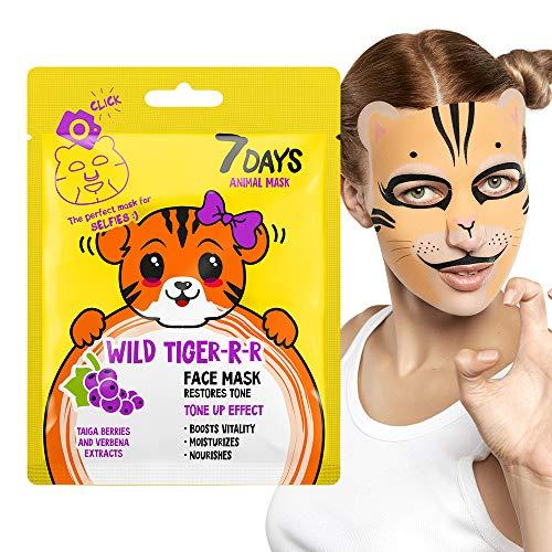 Maschera Viso in Tessuto Animale 1 pz con Divertente Stampa Idratazione Intensa del Viso e Pelle Extrema Effetto Visibile Lifting 28g | 7DAYS