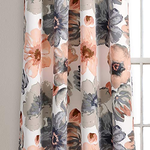 """Lush Decor Room Darkening Window Curtain Panel Pair Leah Floral Insulated Grommet, 84"""" L, Coral and Gray"""