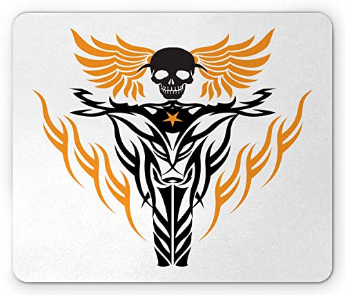 Motorfiets Mouse Pad, Tribal Geïnspireerd Tattoo Ontwerp Vliegende Schedel op Wheel Cool Vibes, Rechthoek Antislip Rubber Mousepad