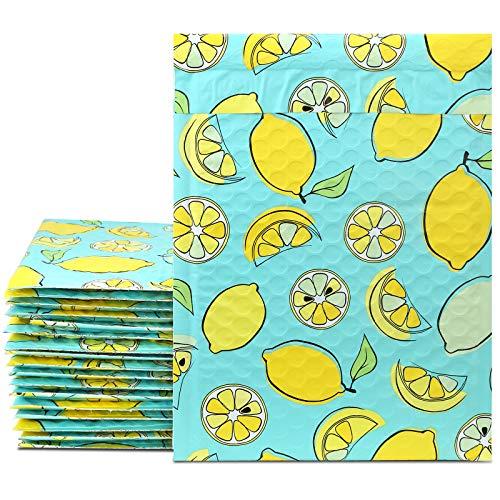 UCGOU 6x10 Inch Lemon Designer Poly Bubble Mailers Padded Envelopes Boutique Custom Bags 25Pcs