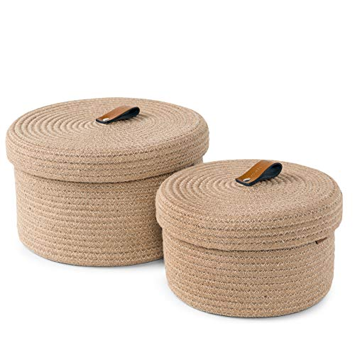 Baskets with Lids – Set of 2 Decorative Baskets for Shelves and Coffee Table – Natural Cotton Rope Lidded Basket with Genuine Leather Tabs and Handles – Small Basket Set for Home
