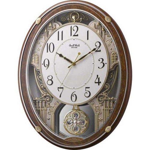 『リズム時計 電波掛け時計 スモールワールドプラウドDX メロディアミューズ付き 木目仕上げ 4MN524RH23』のトップ画像