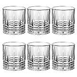 UNISHOP Set de 6 Vasos de Agua de 35cl, Vasos de Cristal Transparentes, 2 Modelos (Tipo 1)
