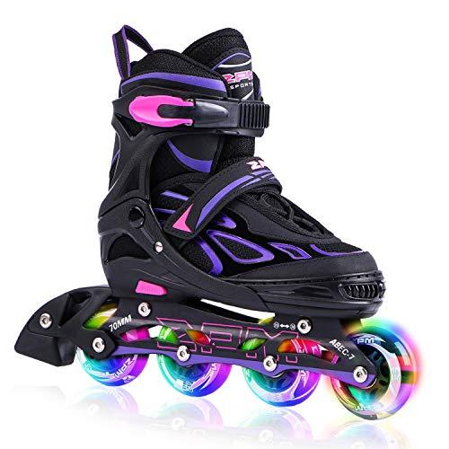 2pm Sports Vinal Girls Adjustable Inline Skates with Light up Wheels Beginner Skates Fun Illuminating Roller Skates for Kids Boys and Ladies - Violet Medium(1Y-4Y US)