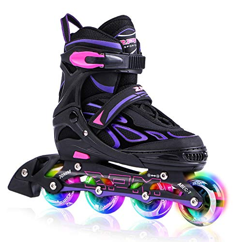 2PM SPORTS Vinal Girls Adjustable Inline Skates with Light up Wheels Beginner Skates Fun Illuminating Roller Skates for Kids Boys and Ladies - Violet Medium(1Y-4Y US)