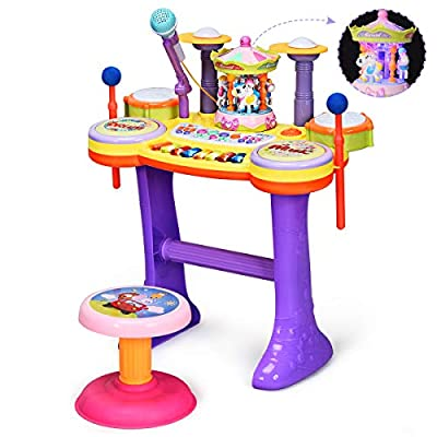 Costzon Electric Musical Instrument Toys, Baby Piano and Drum Toy with Microphone and Carousel, Kids Musical Piano Toy, Educational Play Combination, 8 Key Piano, 6 Beats Drum