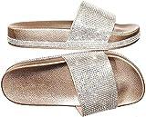 Forever Link Viste-07 Rhinestone Glitter Slide Slip On Flatform Footbed Sandal Slippers (8, Rose Gold-07)