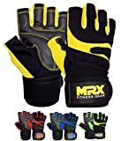MRX BOXING & FITNESS Weightlifting Gloves with Integrated Wrist Wrap Support Half Finger Body Building Gym Glove Yellow Large