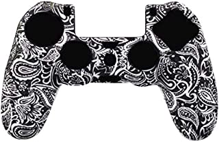 SparkLiay Silicone Case for PS4/PS4 Controller Slim Pro Protective Case Non-Slip for Game Controller Black White
