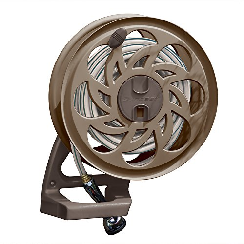 Suncast Sidetracker Garden Hose Reel with Guide - Fully Assembled Outdoor Wall Mount Tracker with Removable Reel - 125' Hose Capacity - Dark Taupe