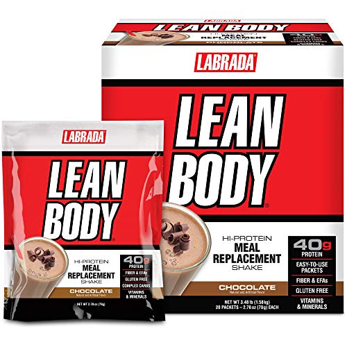 Labrada Nutrition Lean Body Hi-Protein Meal Replacement Shake, Chocolate, 2.78 Ounce (Pack of 20) Packets