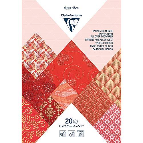 Clairefontaine Paquete de 20 Papeles Hechos a Mano, Rojo, A4