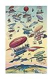 Poster mit Flugzeugen über Panama-Kanal, 30 x 40 cm •