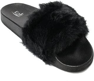 Women's Flip Flop Faux Fur Soft Slide Flat Slipper