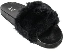 Best black furry sliders Reviews