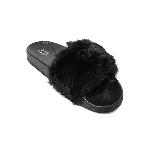 3aadf01e4 Kali Footwear Women's Flip Flop Faux Fur Soft Slide Flat Slipper Limit